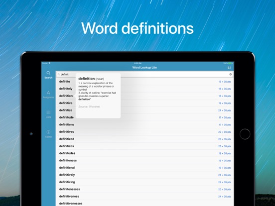 "Word Lookup Free - Dictionary and Anagram Finder ""for Words With Friends"" screenshot"