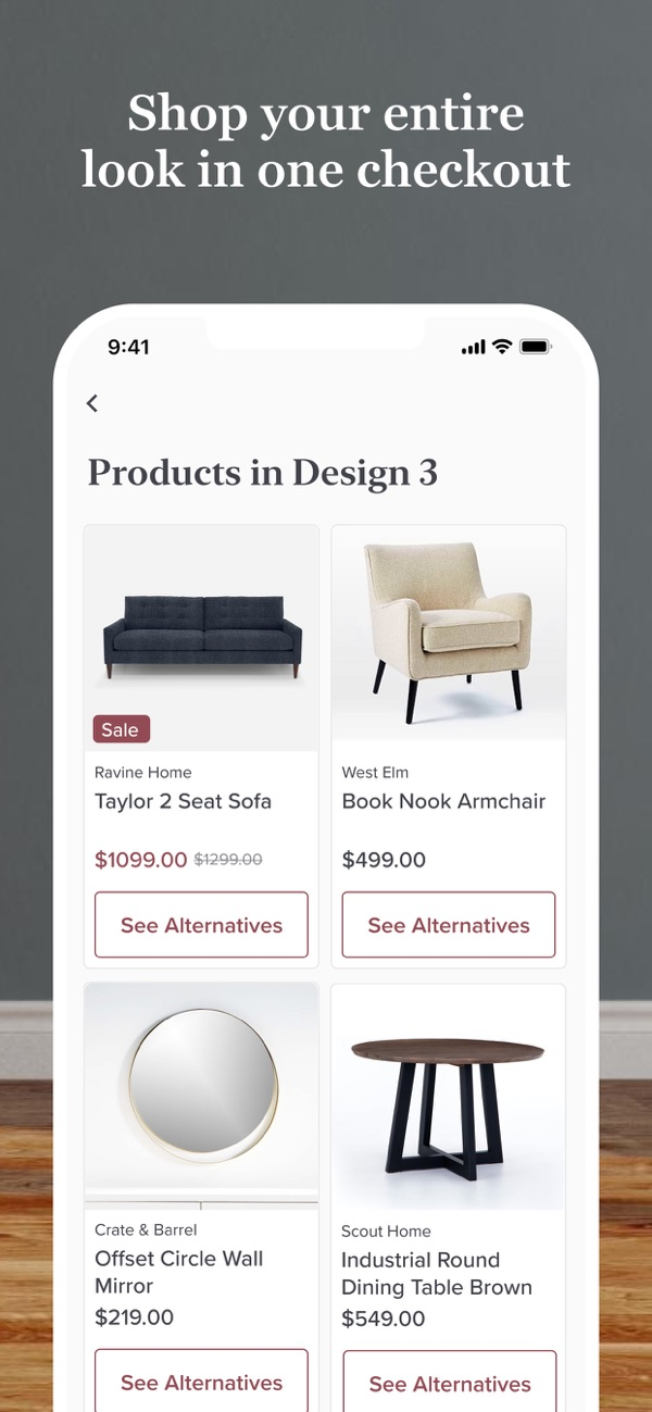 Modsy Interior Design App Shop Products