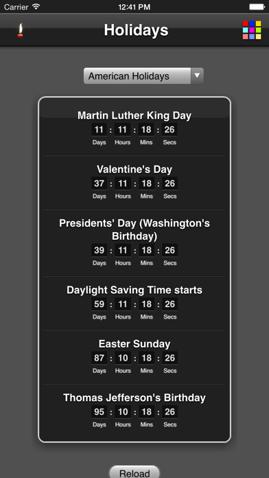 Holidays Countdown review screenshots