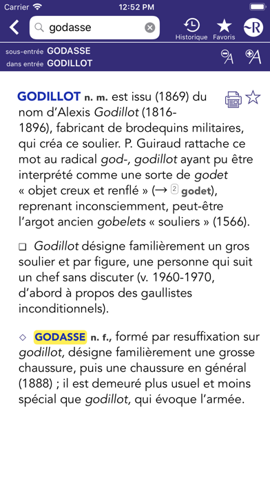 Dictionnaire Robert Historique