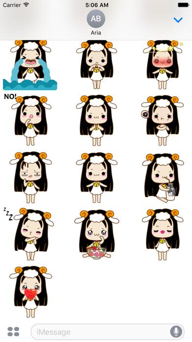 Animated Cute Aries Girl Emoji screenshot 3