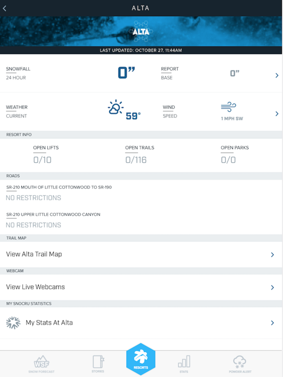 Ski Utah Snow Report screenshot