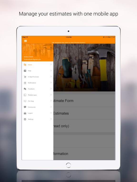 Screenshots for Job Estimator App