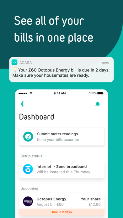 acasa - set-up & split bills screenshot