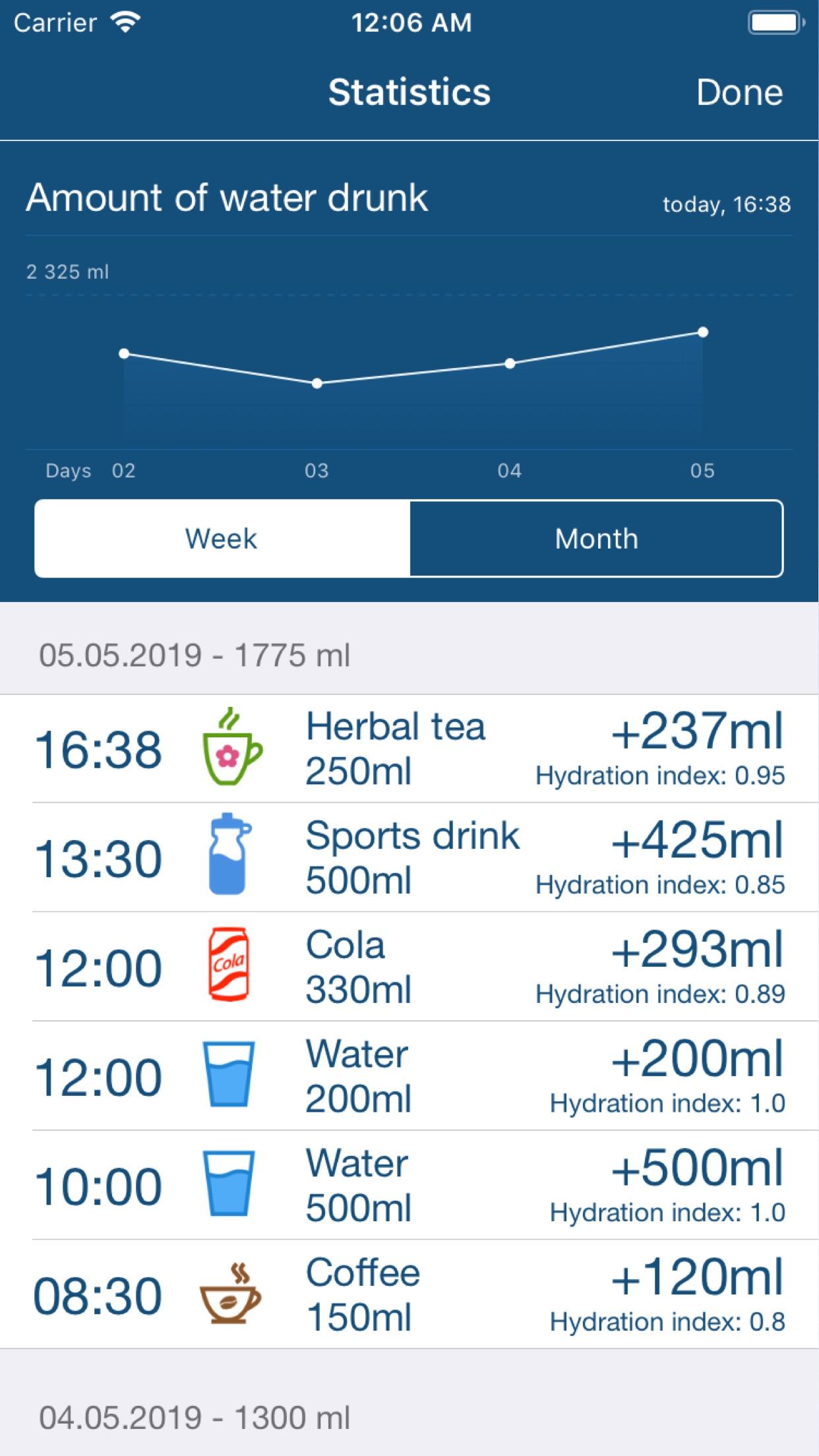 Screenshot do app Water Balance Tracker