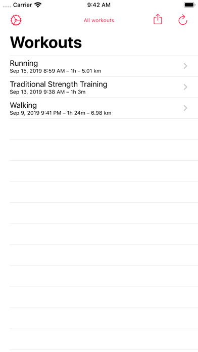 Workout - CSV Exporter screenshot one