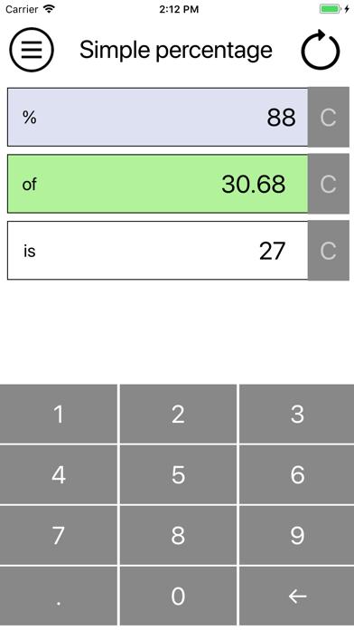 Simple percentage screenshot two