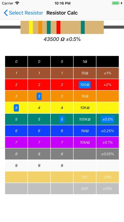 Resistor color code calc screenshot-3