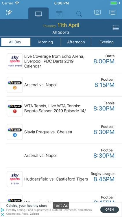 UK Live Sport TV Listings