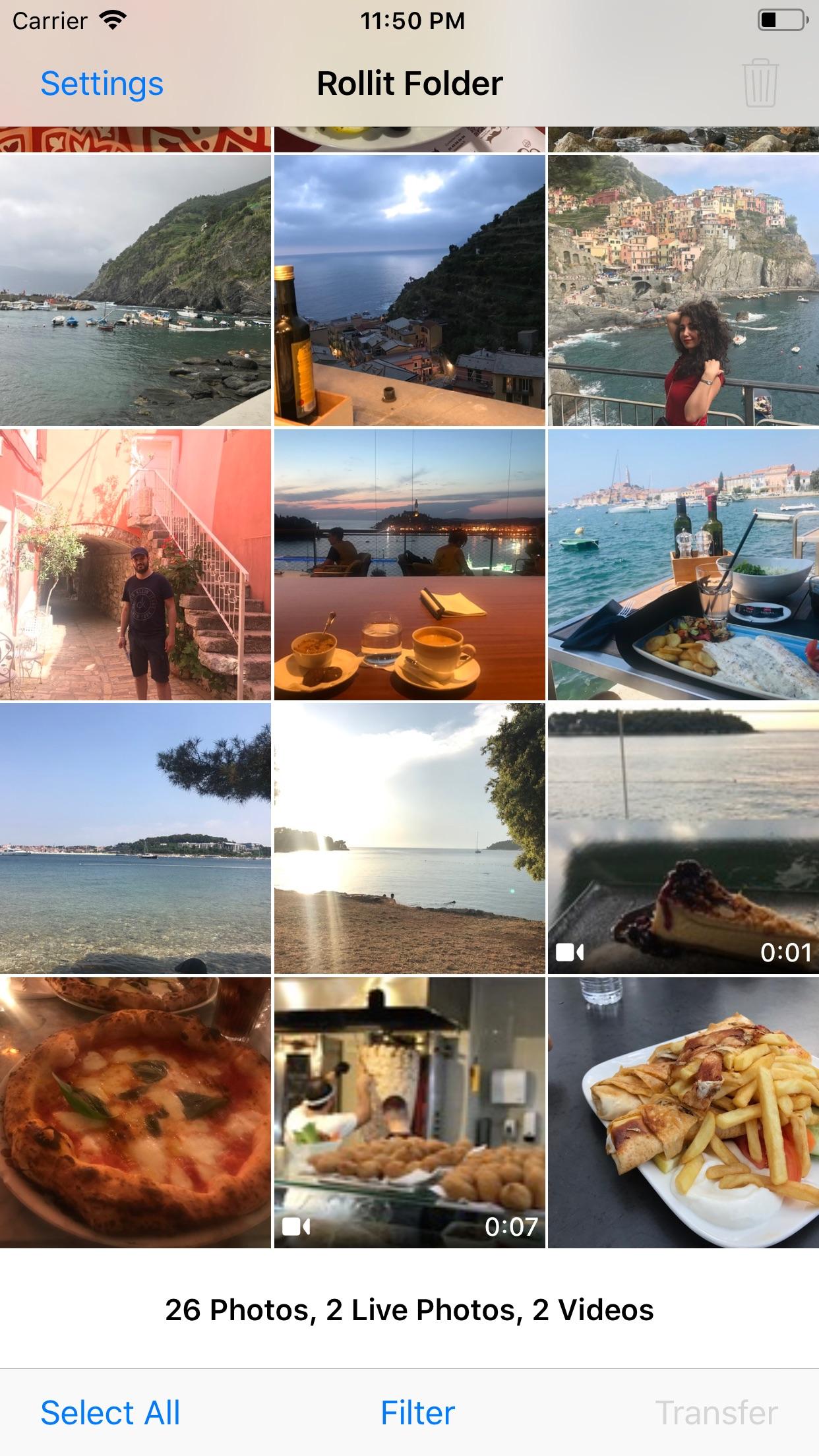 Screenshot do app Rollit - Photo Transfer App