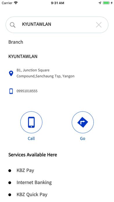 Screenshot of KBZConnect App