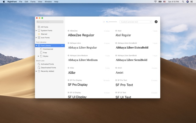 RightFont - font manager on the Mac App Store