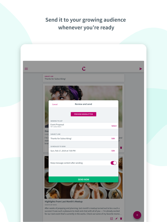 Ipad Screen Shot Curate: Simple Email Marketing 5