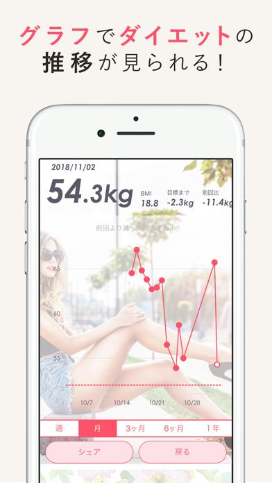シンプルかわいい体重記録アプリ by MYBODYMAKEのおすすめ画像2