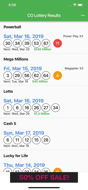 CO Lottery Results on the App Store