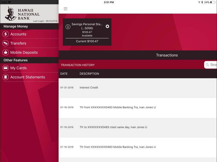 HNB Mobile Banking for iPad