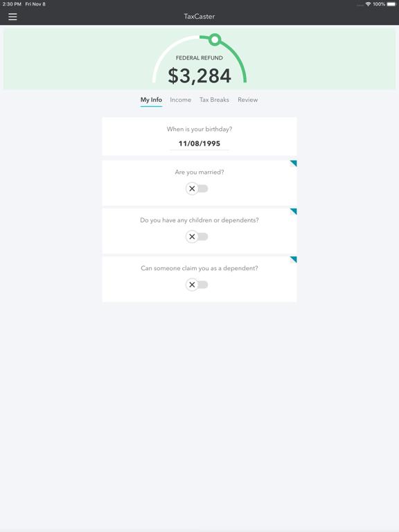 TaxCaster – Free tax refund calculator screenshot