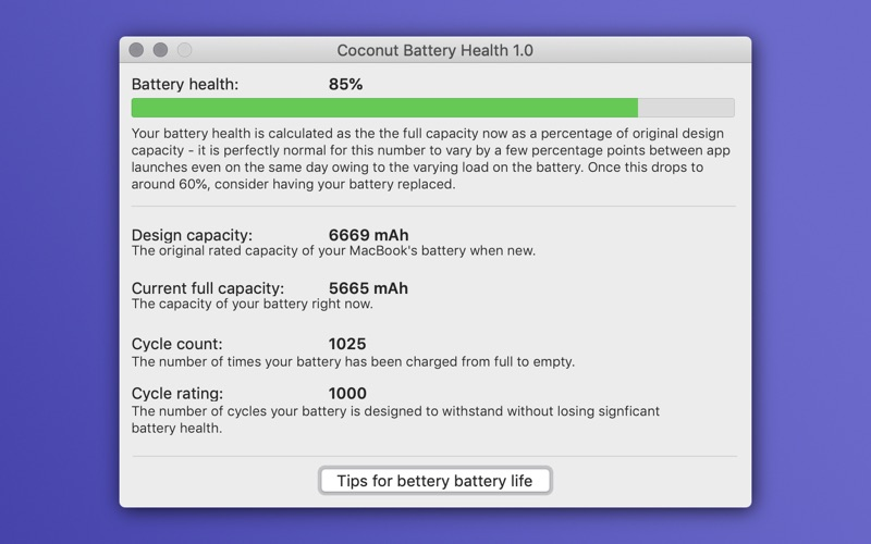 Coconut: Battery Health for Mac