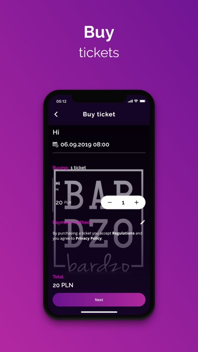 Screenshot of Wejściówka App