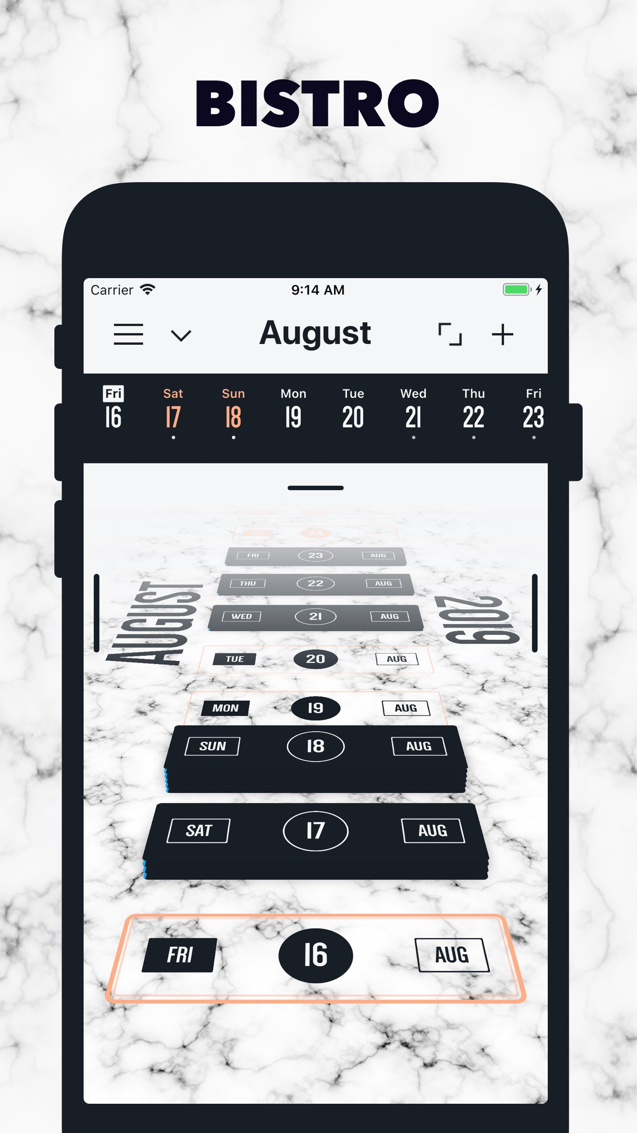 Screenshot do app Vantage Calendar