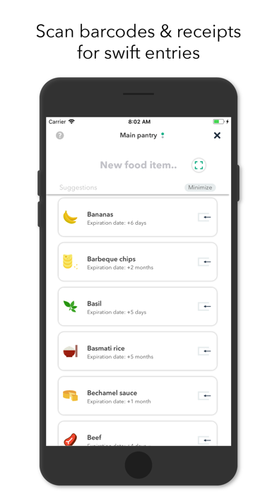 NoWaste - Food Inventory List Screenshot