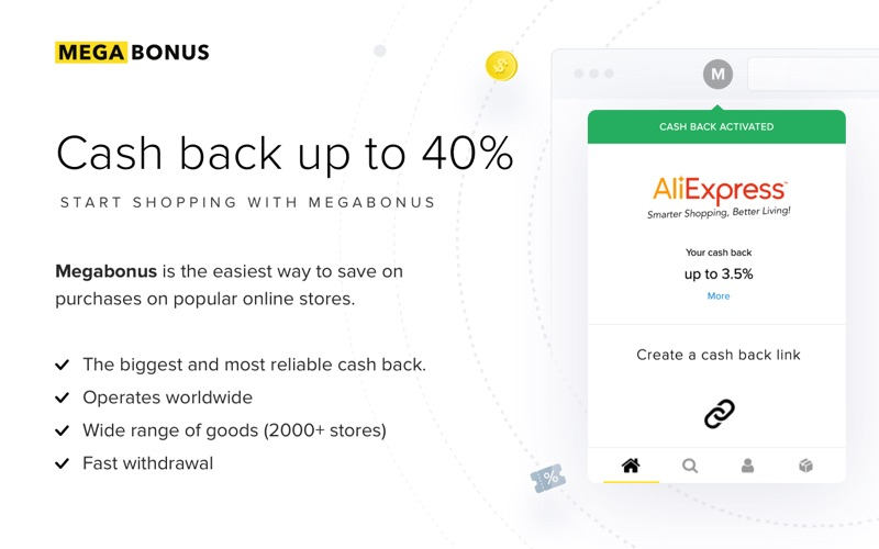Cashback service Megabonus for Mac