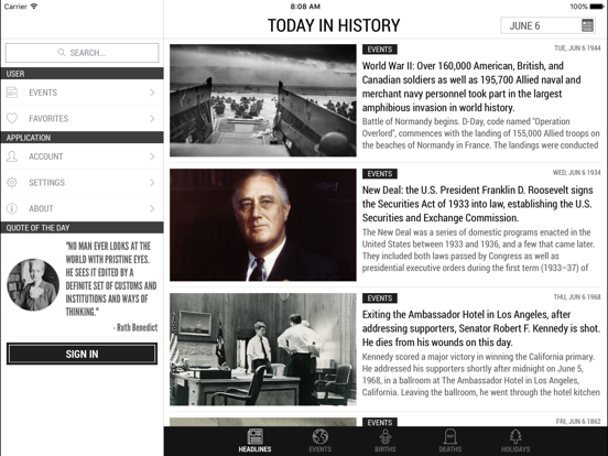 Today In History - free world events, births, quotes, and more screenshot