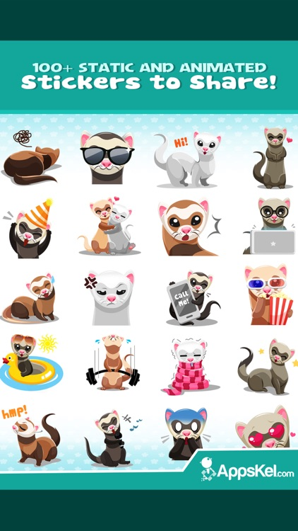 Ferret Pet Emojis Stickers App