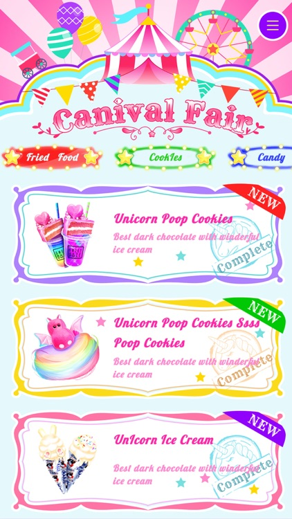Unicorn Carnival Fair Food screenshot-4