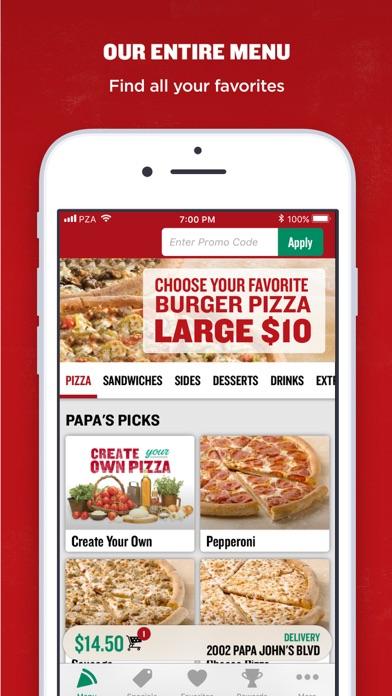 Papa Johns Pizza review screenshots