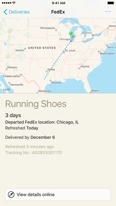 Deliveries: a package tracker screenshot one