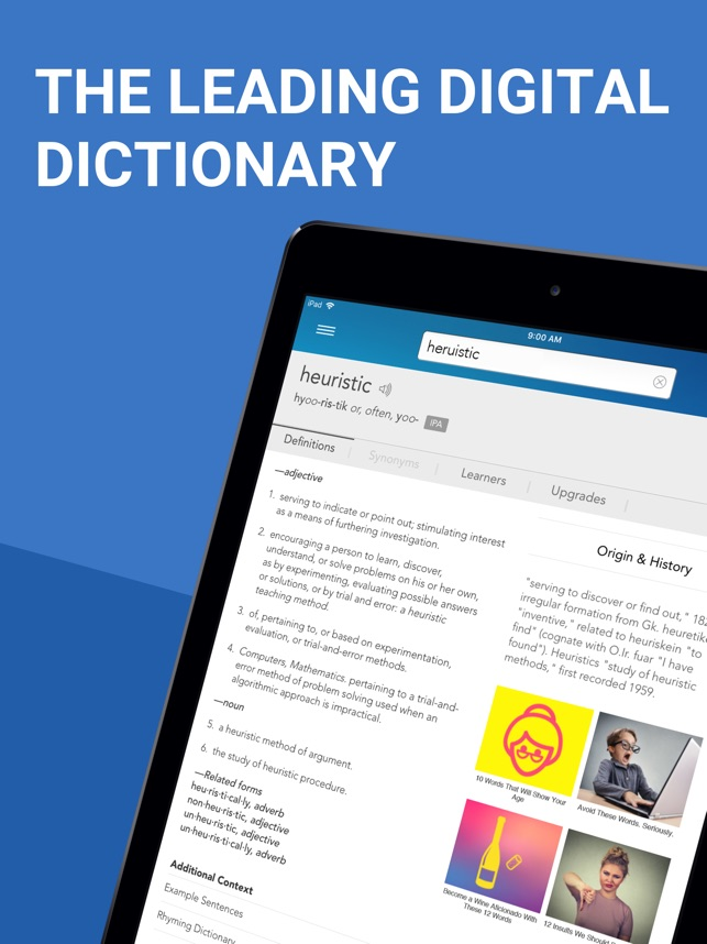 Dictionary com for iPad on the App Store