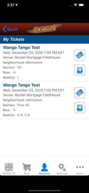 Flash Seats On The App
