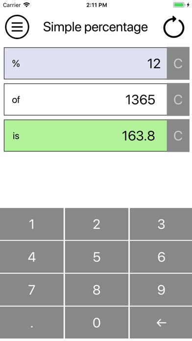 Simple percentage screenshot one