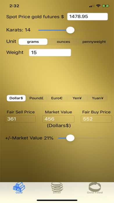 Gold and Silver Calculator screenshot one