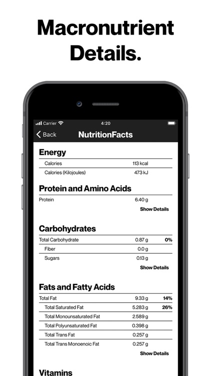 Nutrition Facts - Food Data