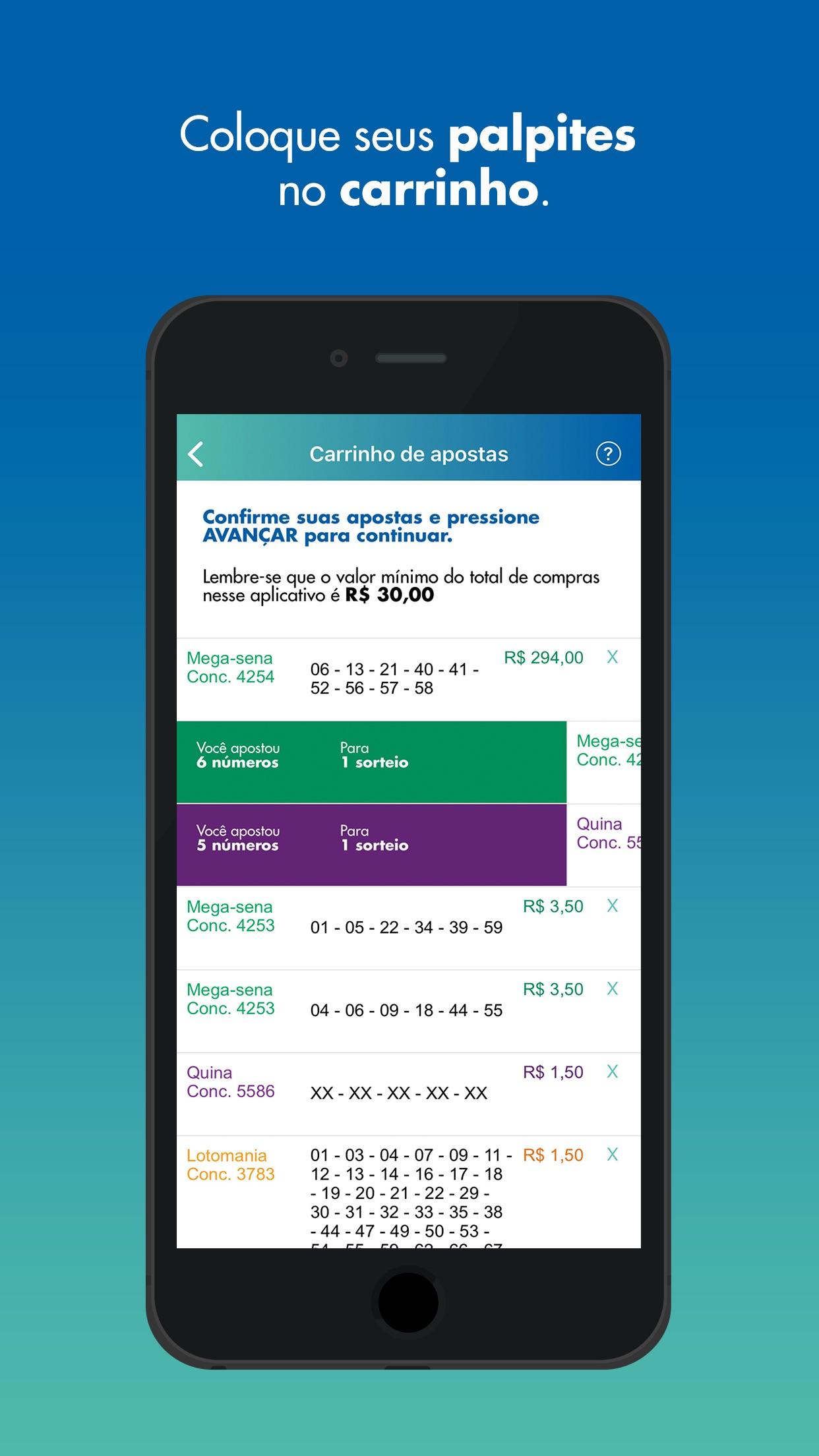 Screenshot do app Loterias Caixa
