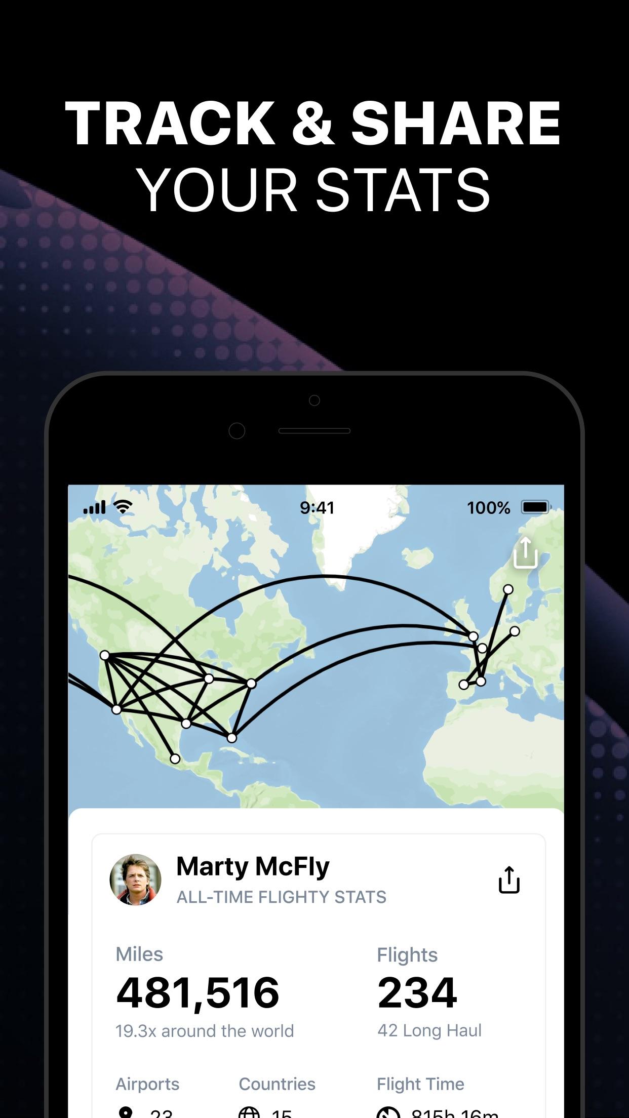 Screenshot do app Flighty - Live Flight Tracker