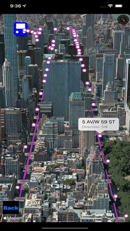 NYC Bus in 3D City View
