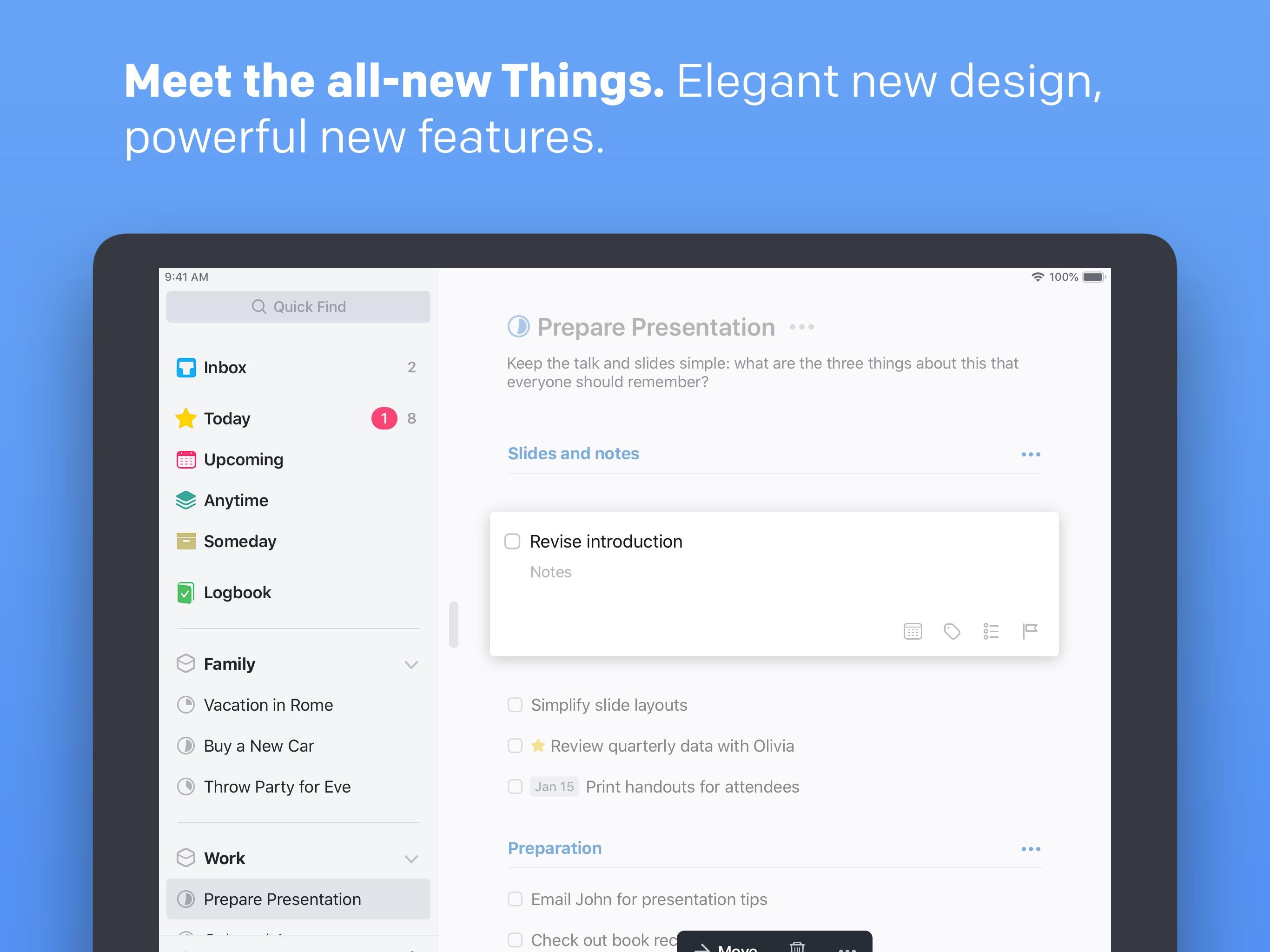 Screenshot do app Things 3 for iPad
