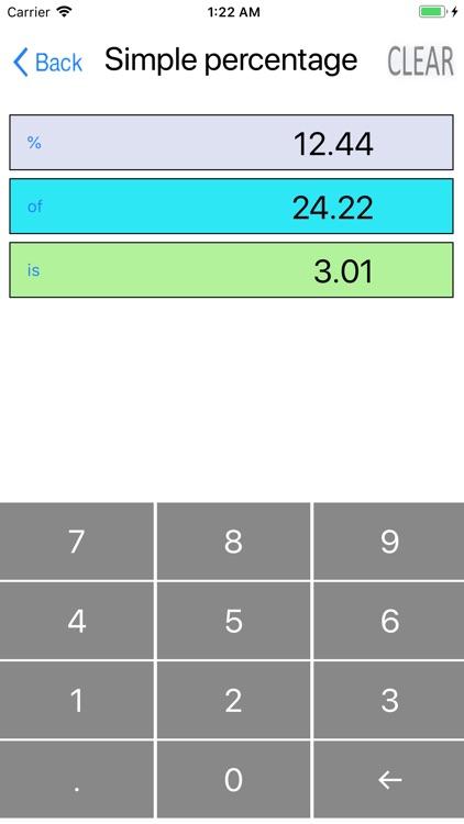 Simple percentage calculator