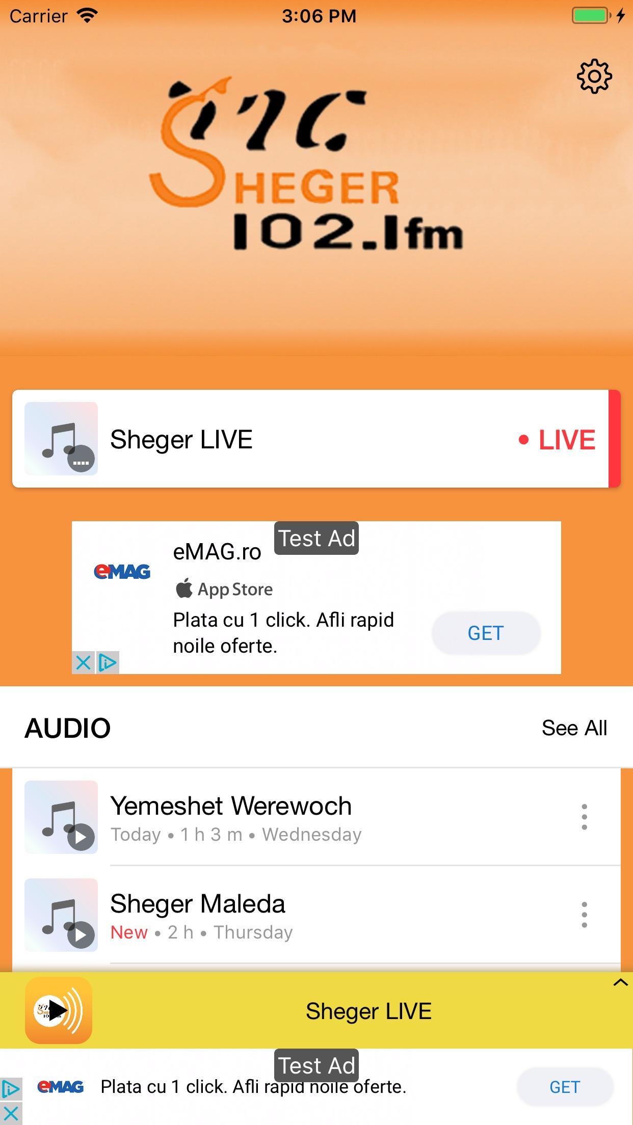 Sheger FM 102.1 Screenshot