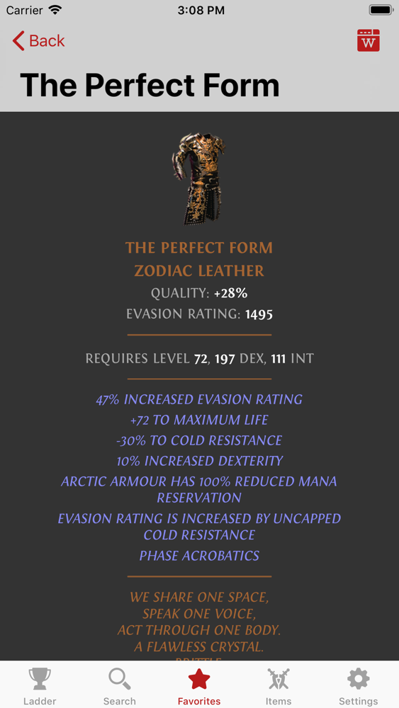 Poe perfect form