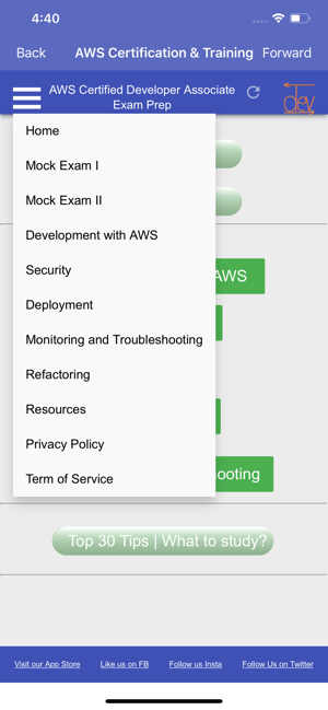 ‎AWS Certified Developer A. PRO Screenshot