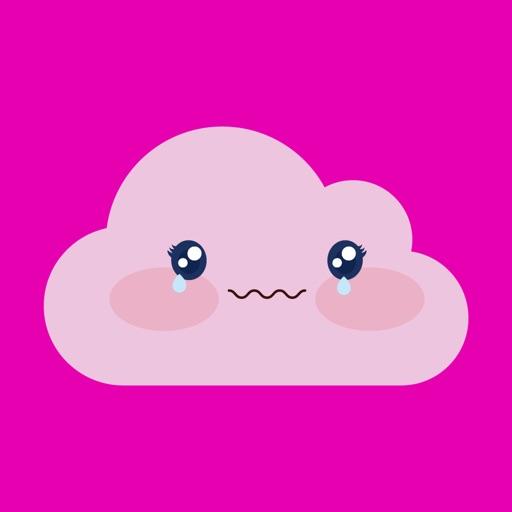 Pink cloud emoji sticker
