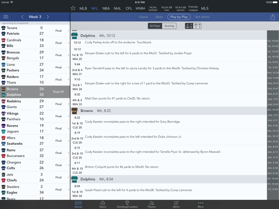 Sports Scores and Alerts screenshot