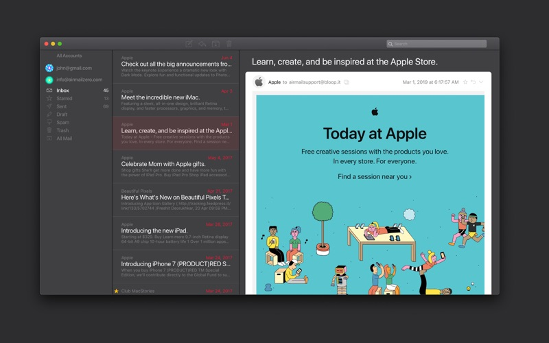 Airmail Zero for Gmail for Mac