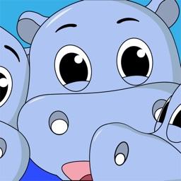 Hippo Cartoon Stickers