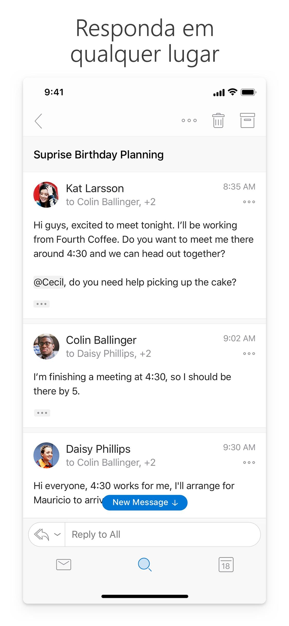 Screenshot do app Microsoft Outlook