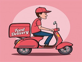 The FoodDeliverySt is a small sticker, which are show the 50 Food Delivery sticker in cartoon